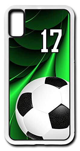 iPhone X Case Soccer Ball SC045Z Choice of Any Personalized Number Phone Case by TYD Designs in White Rubber with Team Player Jersey Number 17