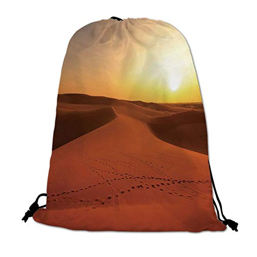 Desert Lightweight Drawstring Bag,Footprints on Sand Dunes at Sunrise Hot Dubai Landscape Travel Destination for Travel Shopping,One_Size