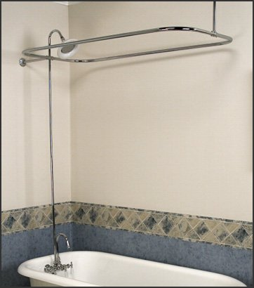 Satin Nickel Add-on Shower Set for Clawfoot Tub - Gooseneck Faucet, Riser, and Shower Rod (Shower Set Riser)