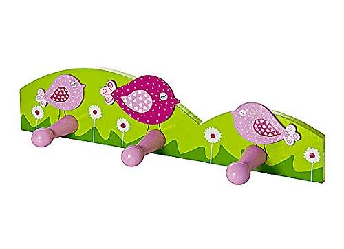 Ganci appendiabiti a parete porta abiti con gancio triplo per muro rosa con uccello per bambini Gancio per muro per la stanza da letto di bambine