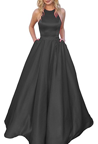 (Women's Halter A-line Beaded Satin Evening Dress Long Formal Ball Gown with Pockets Size 8 Black)