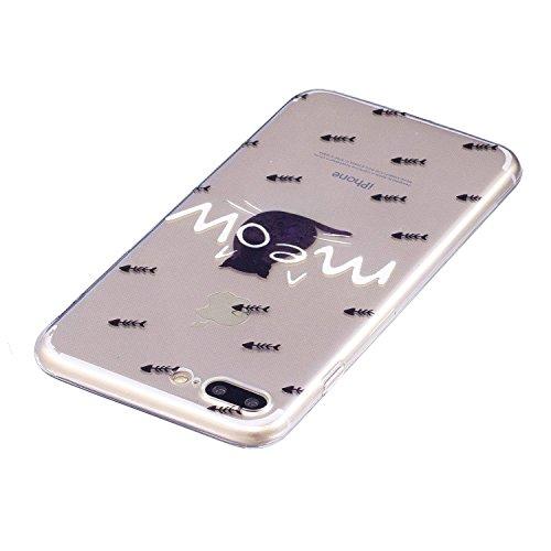 iPhone 7 Plus Coque Miaou Premium Gel TPU Souple Silicone Transparent Clair Bumper Protection Housse Arrière Étui Pour Apple iPhone 7 Plus + Deux cadeau