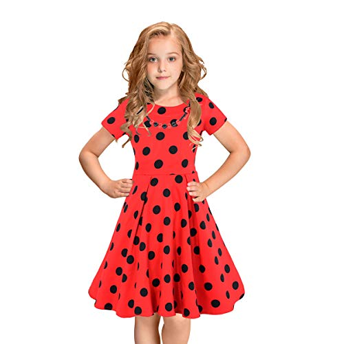 (LEEGEEL Girls Vintage Dress Polka Dot Swing Rockabilly Dresses with Necklace Size 6-12 Girls)