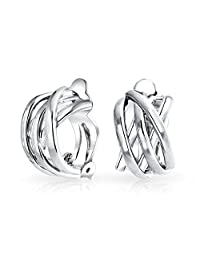 Bling Jewelry Criss Cross Modern Half Hoop Clip On Earrings Alloy