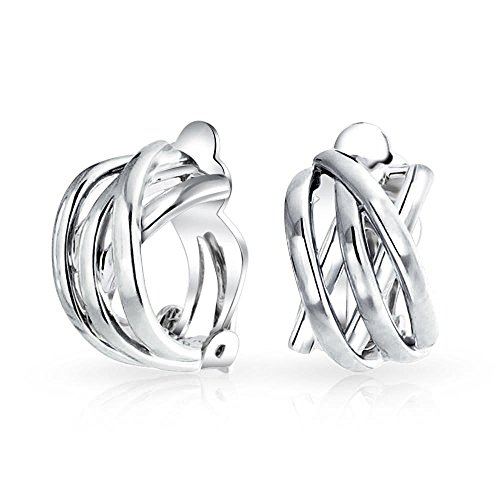 Rhodium Earrings Brass Plated - Open Criss Cross Celtic Knot Work Weave Wide Half Hoop Clip On Earrings For Women Non Pierced Ears Silver Plated Brass