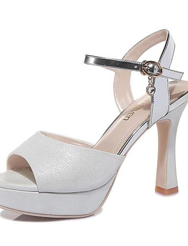 LFNLYX Zapatos de mujer-Tacón Robusto-Tacones / Punta Abierta-Sandalias-Boda / Oficina y Trabajo / Vestido / Casual / Fiesta y Noche-Sintético- Silver