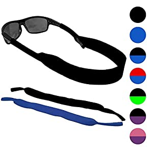 Glasses and Sunglasses Active Strap - 2 Pack | Anti-Slip and Fast Drying Sport Glasses Strap (Blue + Black)