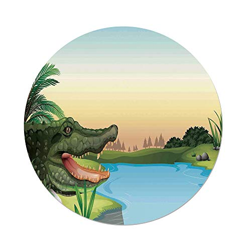 Polyester Round Tablecloth,Reptiles,Exotic Crocodile at the River with Palm Trees Water Lagoon Animal Humor Summer Theme Decorative,Green Blue,Dining Room Kitchen Picnic Table Cloth Cover,for Outdoor