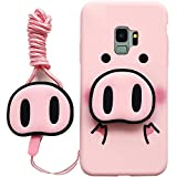 HIKERCLUB Galaxy S9 Case Cartoon Pink Pig 2 in 1 with Bracket and Lanyard Soft TPU Waterproof Shockproof Full Body Protection Case for Galaxy S9