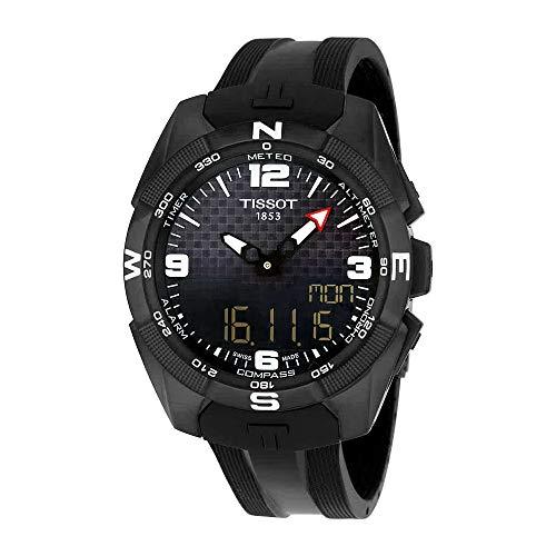 Tissot Men's 'T-Touch Expert' Swiss Quartz Titanium and Silicone Dress Watch, Color:Black (Model: T0914204705701) (Dial Bezel Flag)