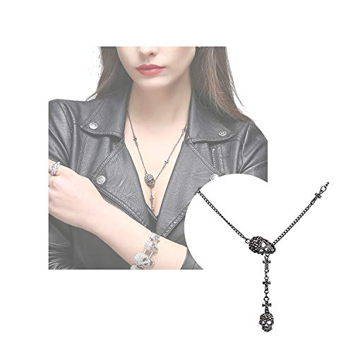 EVBEA Skull Necklace for Women Long Gothic Jewelry Cool Cross Rock Necklaces(46,bk)