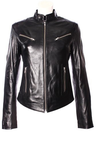 'SPEED' Ladies BLACK Cool Retro Biker Style Fitted Motorcycle Leather Jacket by Smart Range