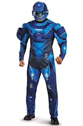 Disguise Men's Halo Spartan Muscle Costume, Blue, X-Large