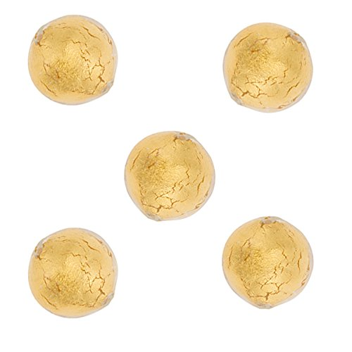 (Round 10mm Gold Foil Murano Glass Bead 24kt Gold Foil Encased in Transparent Clear)