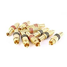 RCA Male Plug Connector - SODIAL(R) 10pcs Gold Tone Male RCA Plug Audio Connector Metal Spring Adapter