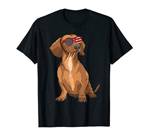 - Funny Dachshund US Flag Sunglasses Tshirt 4th Of July Gifts