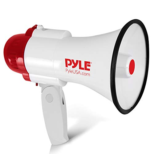 (Pyle Megaphone Speaker Lightweight Bullhorn - Built-in Siren, Adjustable Volume Control and 800 Yard Range -)