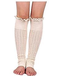 YACUN Winter Outdoor Fashion Warm Cable Knit Leg Warmers Foot Glove White F