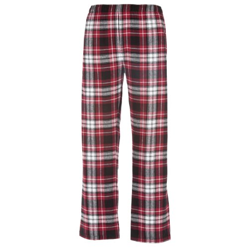 White Plaid Check Classic Cut Flannel Pants, Unisex Sizes, Medium (Plaid Check Flannel Pants)