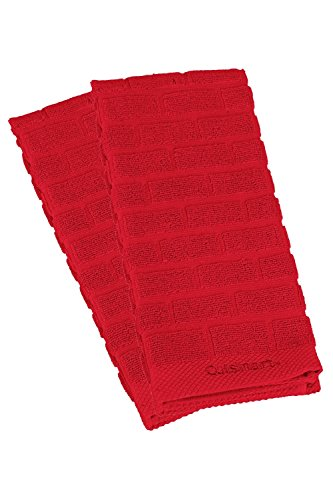 2 Dish Towels Kitchen (Cuisinart 100% Cotton Terry Super Absorbent Kitchen Towel, Sculpted Subway Tile, Red- 2pk, Perfect for Drying Dishes & Hands, Machine Washable)