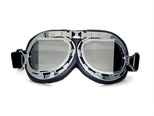 CRG Sports Vintage Aviator Pilot Style Motorcycle Cruiser Scooter Goggle T08 T08SSB Silver lens, silver frame, black padding