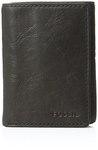 (Fossil Men's Ingram Extra Capacity Trifold Wallet, Black, One Size)