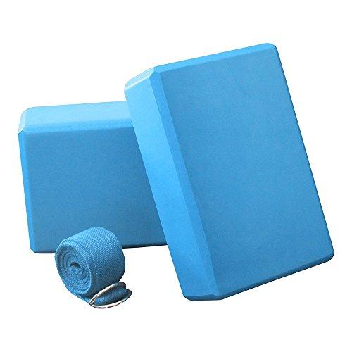 Anfire Yoga Block, Yoga Blocks 2 Pack & Strap – Balance & Flexibility Eva Foam Exercise Blocks – DiZiSports Store