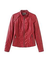 Women's Long Sleeve Zipper Closure Moto Biker Faux Leather Short Coat Jacket Slim Zipper Jacket Outwear