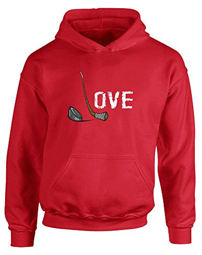Price comparison product image Love Hockey, Kids Printed Hoodie - Fire Red/White/Transfer 12-13 Years