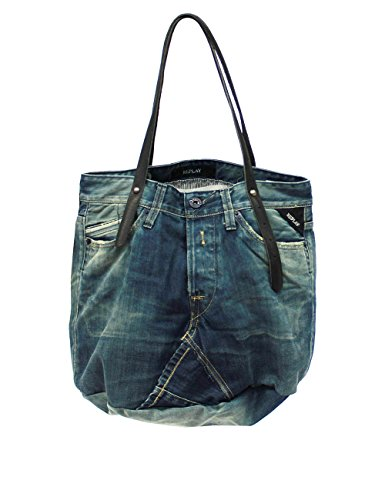 ReplayShopping Bag - blue black denim/black