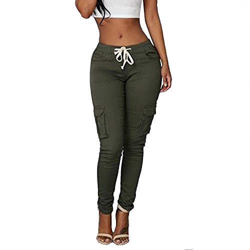 Women's Solid Color Stretch Cargo Joggers Casual Pockets Drawstring Skinny Pants Army Green ()