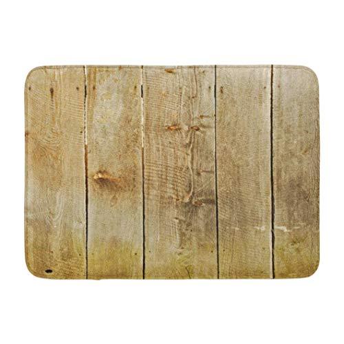 Huayuanhurug Wood Wood Wooden Floor Rustic Old Timber Wall Board Brown Bathroom Mat, Decorative Door Mat with Non Slip Backing,16 W X 24 L Inches, Rubber Funny Doormat for Women/Men/Kids