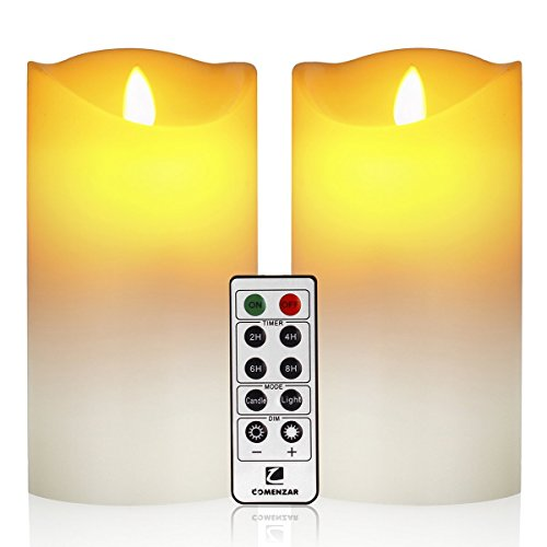 Flameless Candles, Led Candles Set of 9(H 4' 5' 6' 7' 8' 9' xD 2.2') Ivory Real Wax Battery Candles With Remote Timer by (Batteries not included)