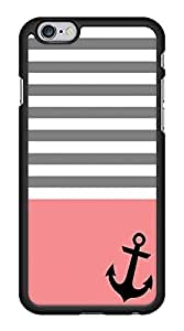 Cute Gray Stripes Pink Anchor Nautical Snap-On Cover Hard Plastic Case for iPhone 6 (Black)