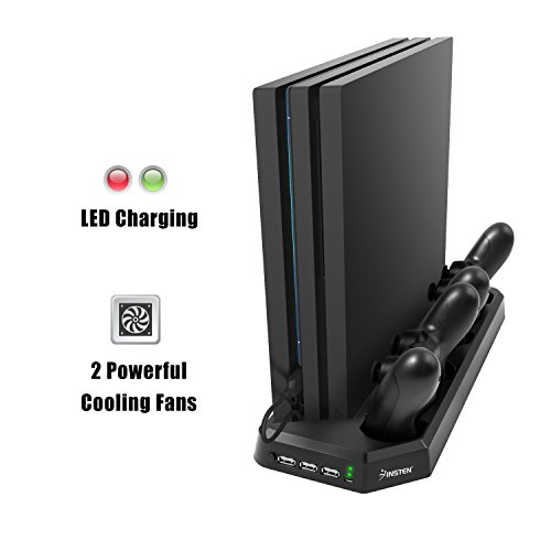 for PS4 Pro Charging Station with Cooling Fan, Insten PS4 Pro Dual Controller Charging Dock in Vertical Stand Design with 3 USB Hub Charging Ports, Bulit-in Cooling Fan and Charging ()