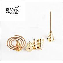 2500 Silk Art Multifunction Brass Copper Calabash Incense Burner Decorated Charcoal Ash Catcher Tray Holder 2 Piece /set TXXC02