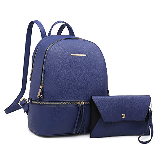 Lightweight Women Zipper Backpack Purse Simple Design Casual Daypack Fashion School Shoulder Bag for Girls (Blue)
