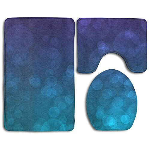 New Purple and Teal Wallpaper 3-Piece Bathroom Mat Set,Extra Soft Memory Foam Combo - Rug,Contour Mat and Lid Cover for $<!--$31.33-->