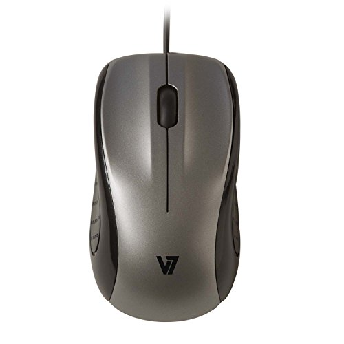 V7 Optische LED Maus Mid Size Optical LED Mouse (3-Tasten, 1000 dpi, USB) silber schwarz, MV3010