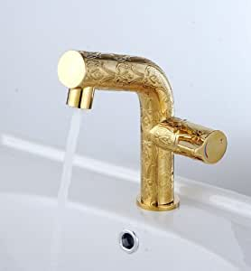 gold color bathroom faucets gold color finish single handle brass basin mixer 18529