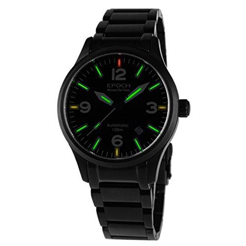 EPOCH 7009GN waterproof 100m T25 tritium green luminous black strap mens business automatic self-wind mechanical wrist watch -  7009GN B green steel