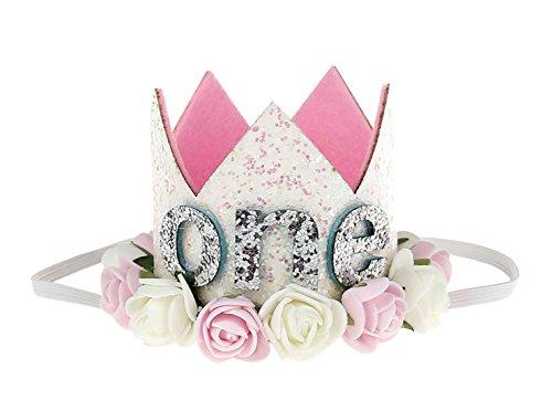- Infant First Birthday Crown Flower Headbands Rose Sparkling Princess Tiara Glitter Hair Accessories Pink White Flower