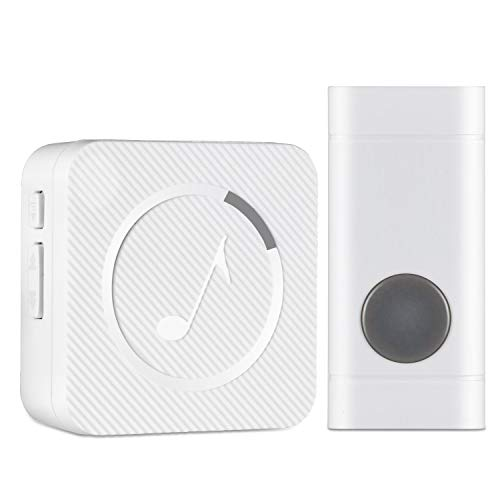 Wireless Doorbell, HISILI Waterproof Door Bell Kit Ring Chime Operating over 1000 feet, 1 Remote Push Button & 1 Plugin Receiver with LED Indicator, for Home/Office]()