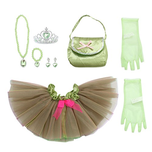 10' Gloves Satin (Toiijoy 9Pcs Girls Princess Costume Dress up Set with Princess Mini Tutu,Purse,Gloves,Tiara Crown for Toddlers Kids 2-4yrs)