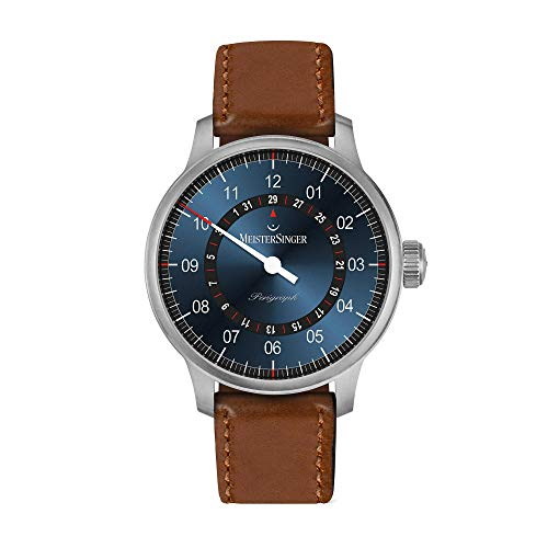 MeisterSinger Perigraph AM10Z17B Automatic Blue Dial Brown Leather Strap Men's Watch