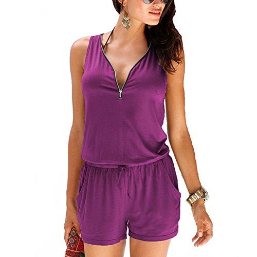 Ladies Two Side Pocket V-neck Zipper Front Cerise Summer Jumpsuit Romper-M