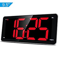 "Large Display Alarm Clock Radio, Jumbo LED Digital Clock, FM Radio Clock with 9.5"" Curved Edge Screen, Stepless Control Dimmer, Dual Smart Alarm, Snooze, FM Radio, Sleep Timer, Battery Backup"