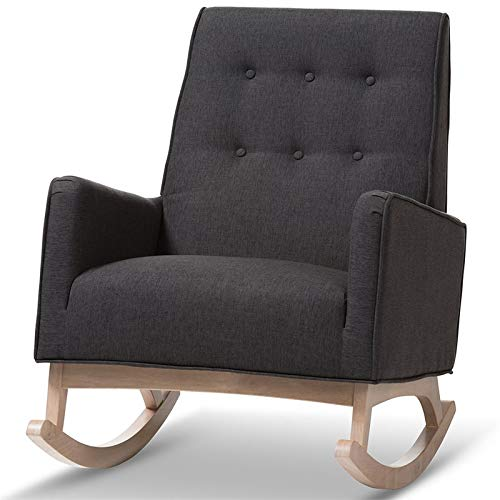 Baxton Studio Marlena Tufted Rocker in Dark Gray by Baxton Studio