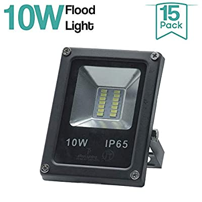|15-Pack|10W 120V Waterproof Outdoor Garden Yard LED Flood Light Daylight White