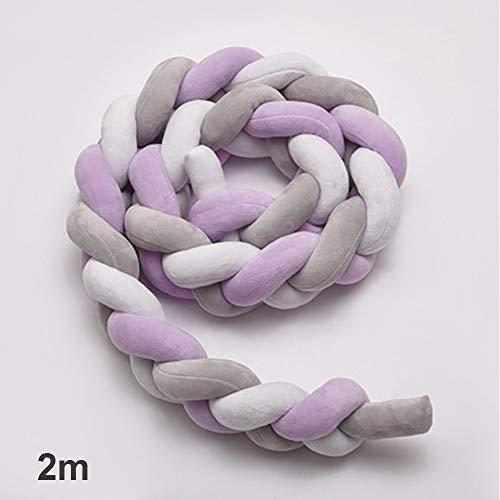 - Crib Bumper Pillow Bed Knotted Newborn Baby Cushion Nursing Cradle Decor Plush(2mWhite+Gray+Purple)